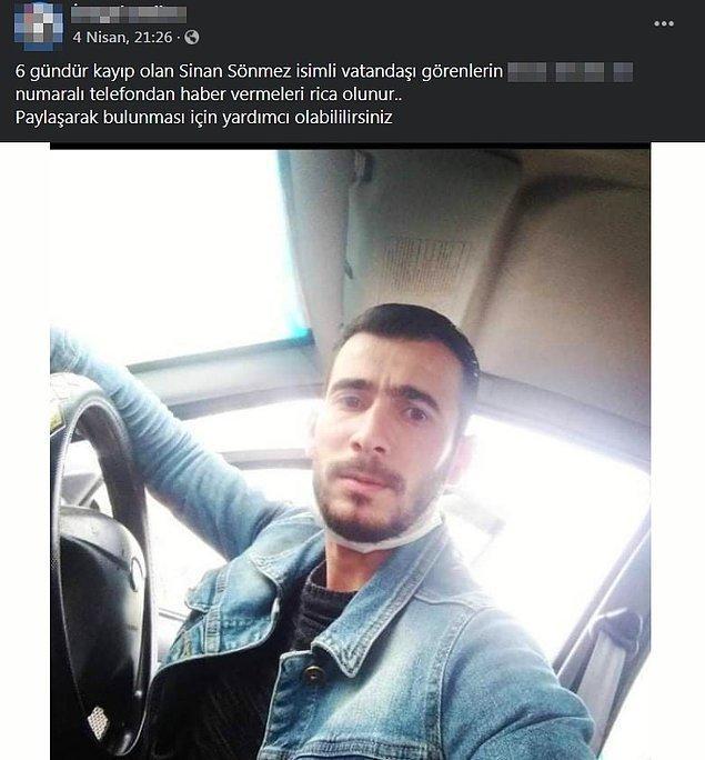 Ölen kişinin kimliğini tespit etmek için inceleme yapan polis ekipleri, cesedin İnegöl ilçesinde 30 Mart tarihinden beri kaybolan Sinan Sönmez'e ait olduğunu belirledi.