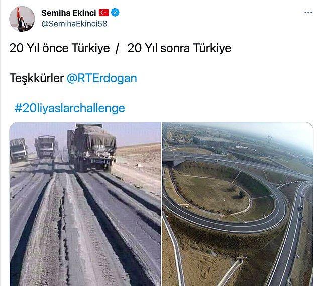 Bu akıma siyasi parti üyeleri de katılıyor haliyle. Ancak burada durum biraz farklı. AKP Sivas Milletvekili Semiha Ekinci 20 yıl önce Türkiye başlığıyla bir yol görüntüsü paylaştı.