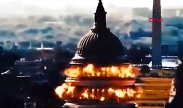Devrim Muhafızları Ordusu'nun yer aldığı propaganda videosunda, bir füzenin ABD Kongre Binası'nı havaya uçurduğu görülüyor.
