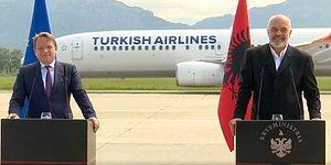 As Bayrakları As: Arnavutluk Başbakanı ile AB Komiserinin Basın Toplantısı Sırasında Arkadan THY Uçağı Geçti