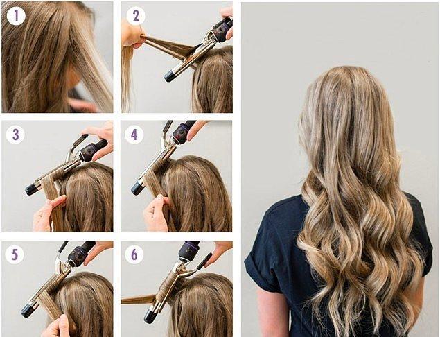 8. Kalın ve doğal dalgalı bir görünüm için seramik plakalı saç maşası