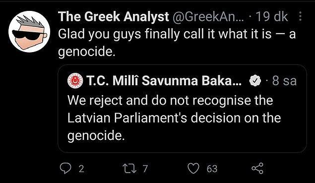 Paylaşımın altına yorum yapan çok sayıda yabancı, alaycı şekilde Türkiye'nin 'soykırım'ı kabul ettiğini belirterek tebrik etti.