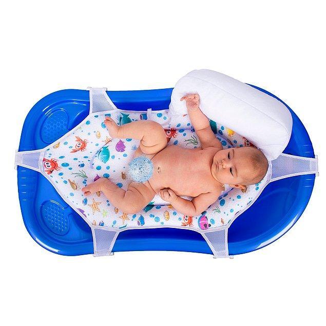 18. Destekli bebek banyo filesinin, 6 noktadan bağlantısı sayesinde bebeğinizin su ile temasını ayarlayabilirsiniz.