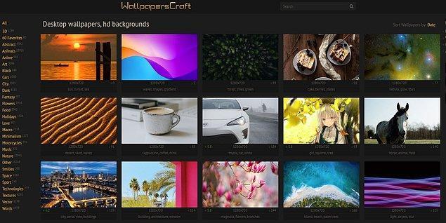 1. Wallpaperscraft ziyaretçilerini 28 ayrı ana kategorisiyle ve resim çeşitliliğiyle memnun ediyor. Ayrıca 4K Ultra HD görselleri de destekliyor.