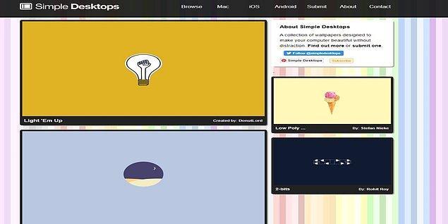 7. Simpledesktops, adından da anlaşılabileceği üzere sadeliği tercih eden insanlar için, yüksek çözünürlükte görseller sunuyor.