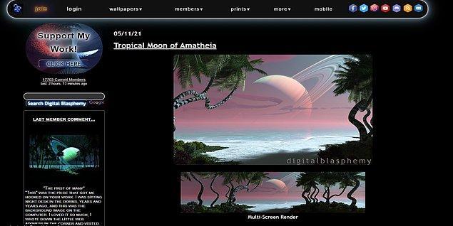 9. Digitalblasphemy, 1999 yılından bu yana, hem ücretli hem ücretsiz olarak, uzay, gezegen, manzara, gökyüzü ve 3 boyutlu görselleri ziyaretçileriyle paylaşıyor.