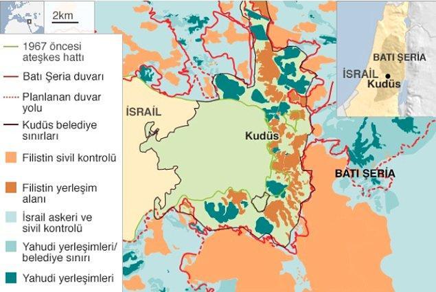 Kudüs'ü tartışma konusu yapan ilk sebeplerden biri, jeolojik olarak İsrail ve Filistin'in orta noktasında yer alması ile başlıyor.