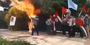 Filistin'e Destek Eylemi Yapıp İsrail Bayrağı Yakmak İsteyen Kişi Kendini Yaktı
