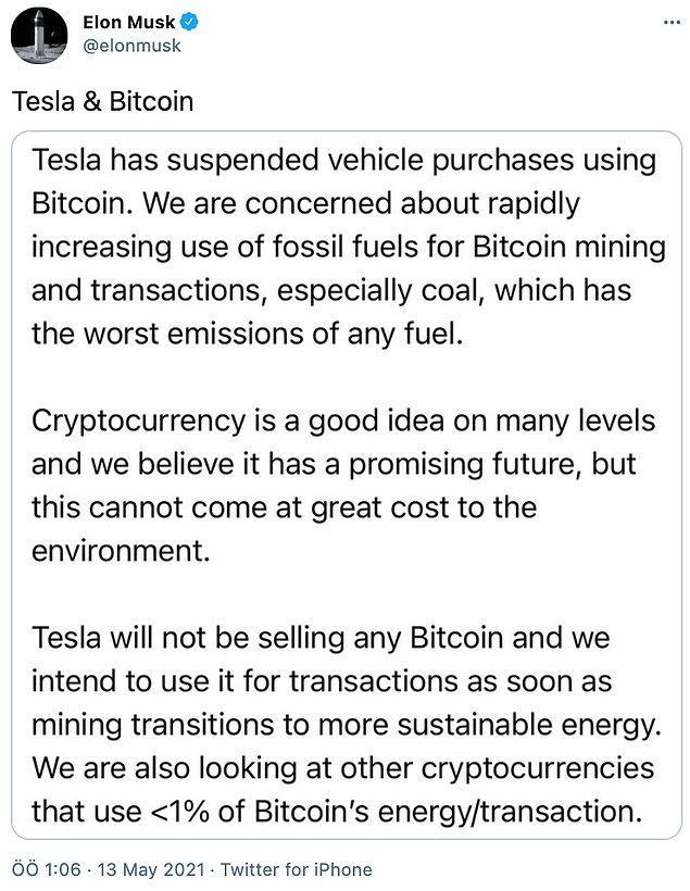 Musk, Bitcoin madenciliğinin enerji tüketimine dikkat çekerek, şirketin Bitcoin ile ödeme alma sürecini iptal ettiklerini paylaştı.