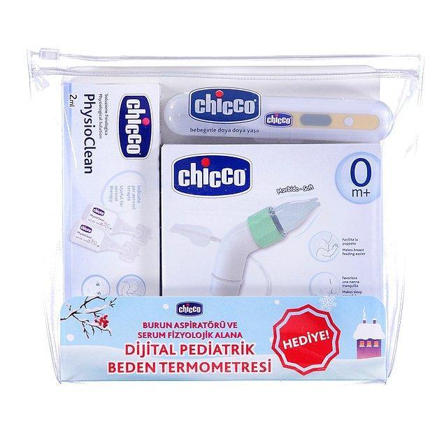 3. Burun aspiratörü, serum fizyolojik ve termometre...Müthiş üçlüyü set yapmış Chicco!