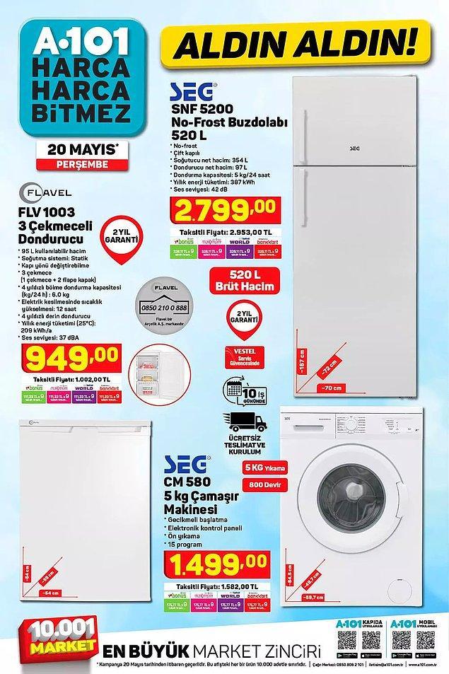 Bu hafta da SEG marka buzdolabı ve çamaşır makinesi satışta olacak.