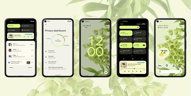 Tasarım üzerindeki değişikliklerle göze çarpan Android 12, kullanıcılarına daha geniş bir özelleştirme alanı sunmayı hedefliyor. Özel renk görsellerine sahip widget'larla ekranımızı tarzımıza göre dizayn edebileceğiz.