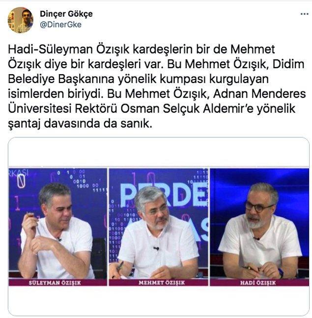 Ancak diğer gündem konuları bu düğün kadar gözardı edilebilir değil. Örneğin Didim Belediye Başkanı Ahmet Deniz Atabay'a kumpas kurulmasıyla ilgili çok ciddi bir iddia var Özışık kardeşlerle ilgili.