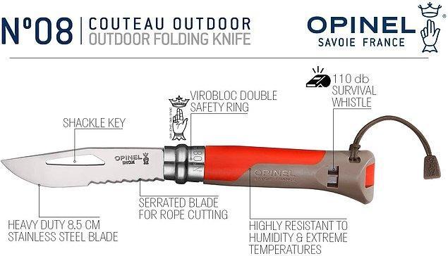 7. Arkasında düdüğü bulunan, ergonomik tasarıma sahip bu çakının bıçak uzunluğu 8.5 cm.