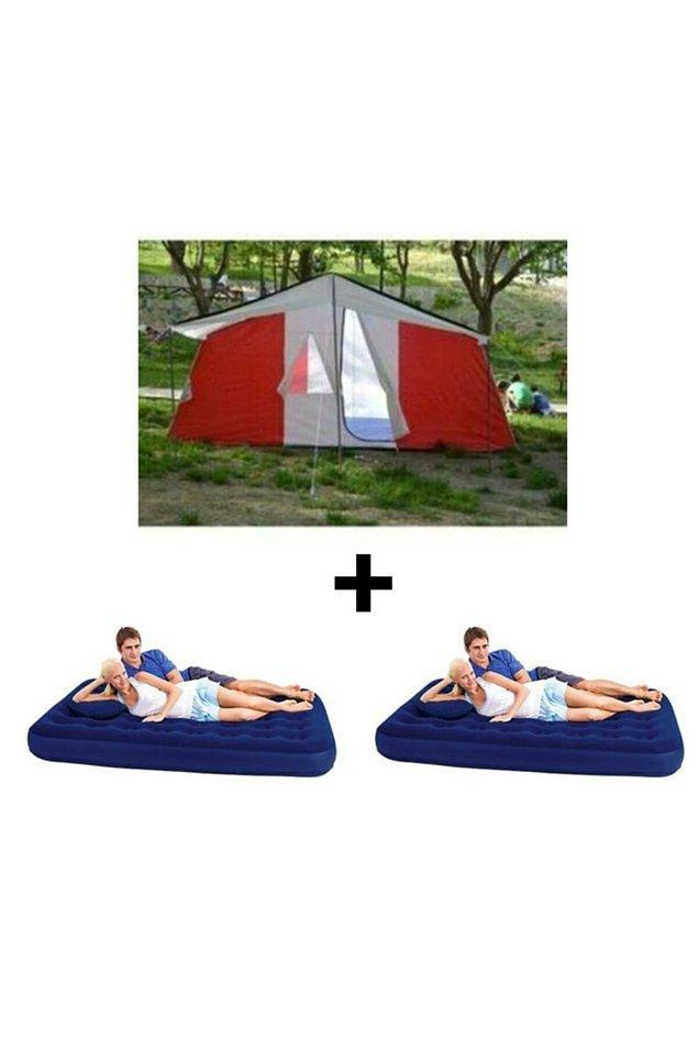 11. İki odalı bir kamp çadırı ve 2 adet çift kişilik şişme yataktan oluşan bu set çok kullanışlı.