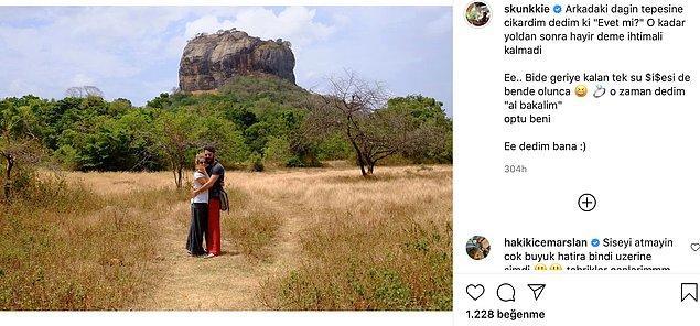 Aslında niyeti Bali'de evlenme teklif etmekmiş ama yola düştüklerinde şartlar onları bir anda Sri Lanka'ya sürüklemiş. Uzun ve zorlu bir dağ tırmanışının ardından bir dağın tepesinde yüzüğü vermiş Burcu'ya.