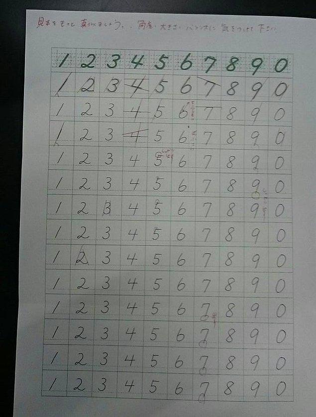 """9. Bu, Japonya'daki bir bankanın çalışanlarına verdiği bir eğitim. Bankacı olacaksanız sayı yazma sanatını mükemmelleştirmelisiniz. """""""