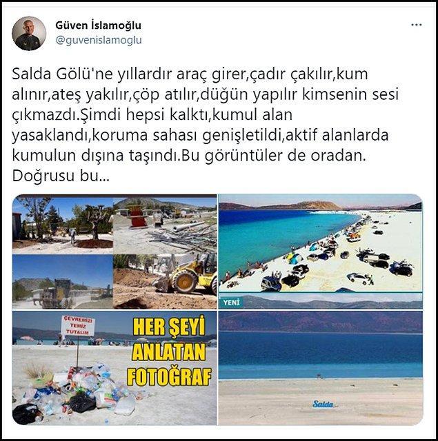 Çevre programcısı Güven İslamoğlu ise Salda'nın eski görüntüleriyle birlikte bu paylaşımı yaptı 👇