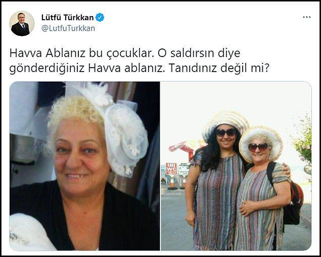 """Türkkan olay günü başı kapalı olan Sevgen'in farklı fotoğraflarını paylaştı ve """"Havva Ablanız bu çocuklar. O saldırsın diye gönderdiğiniz Havva ablanız. Tanıdınız değil mi?"""" diye sordu."""