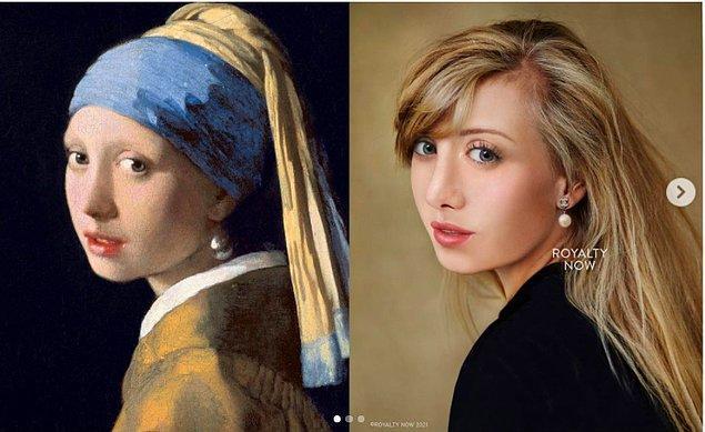 """Tarihi figürlerin yanında Vermeer'in """"İnci Küpeli Kız""""'ı..."""