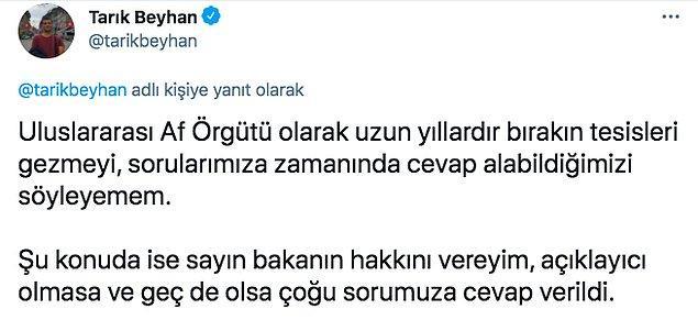 Canlı yayındaki bu beyanların ardından  Af Örgütü Türkiye Şubesi İletişim ve Kampanyalar Direktörü Tarık Beyhan, sosyal medya hesabından örgütün işkence ve kötü muameleyi izlediğini ve konuya dair bulgularını İçişleri Bakanlığı ile paylaştıklarını açıkladı. 2019 ve 2020 yılına ait raporları yayınladı.