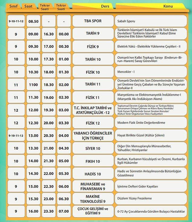 26 Mayıs EBA TV Lise Ders Programı