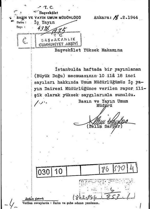 Bu çizgi değişimi hükumetin dikkatinden kaçmaz. Basın Yayın Genel Müdürlüğü 1944'ün Şubat'ında bir rapor yayımlar.