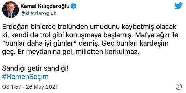 Kılıçdaroğlu'nun paylaşımı 📌
