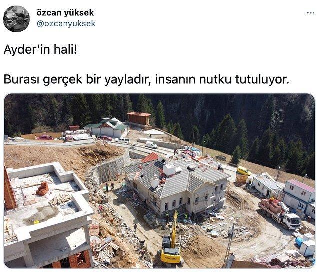 Twitter'da Özcan Yüksek adlı kullanıcı tarafından paylaşılan fotoğrafta, yayladaki inşaat sürecinin ardından yeşile dair bir iz kalmadığı görülüyor.