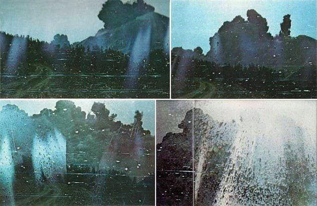 17. St. Helens Dağı patlaması sırasında sadece 11 km uzaklıkta olan fotoğrafçı Robert Landburg, canlı çıkma ihtimali olmamasını bilmesine rağmen bu anı kaydetmiştir.