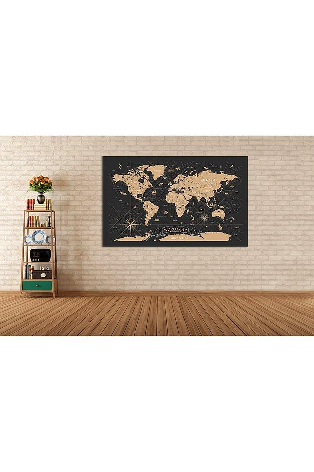 7. Dünya haritası kanvas tablo...