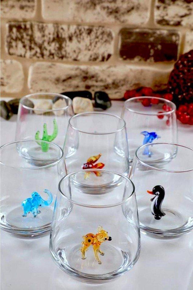 15. Hayvan figürlü 6'lı su bardağı takımı en beğenilen bardak setlerinden bir tanesi...