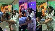 Bu Nasıl Gelenek? Düğünde, Gelinin Bacağındaki Bacak Bandını Ağzıyla Çıkartan Damat