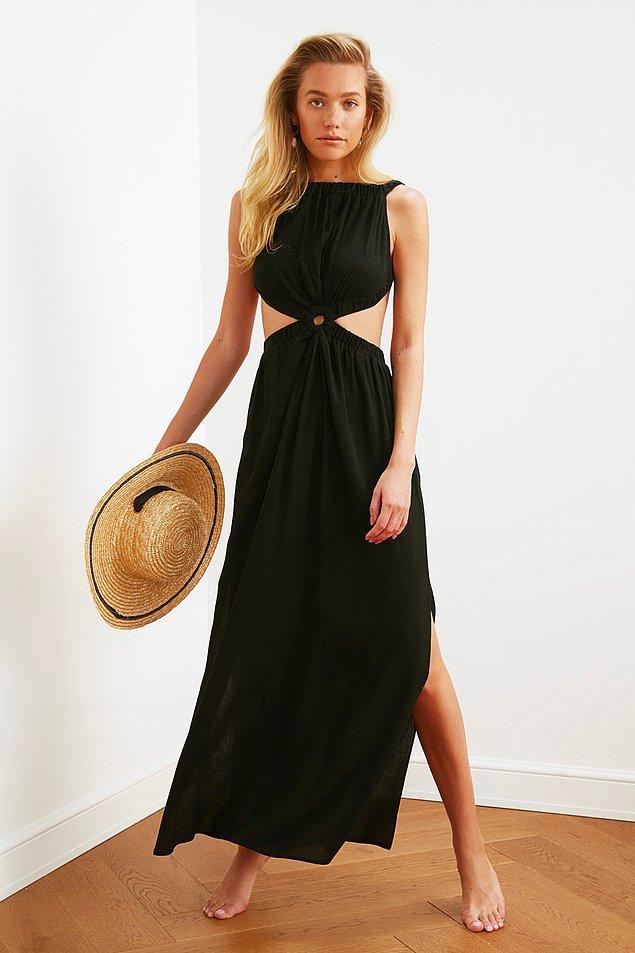 13. Cut out detaylı bu siyah elbiseyi ben üzerimden çıkarmıyorum.