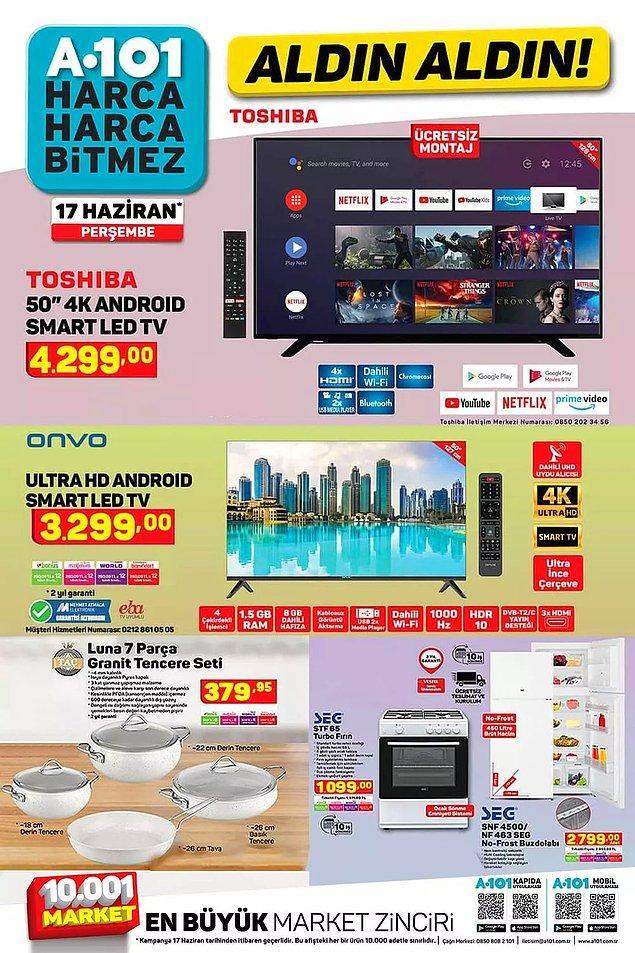 17 Haziran Perşembe günü A101'de iki farklı televizyon satışta olacak.