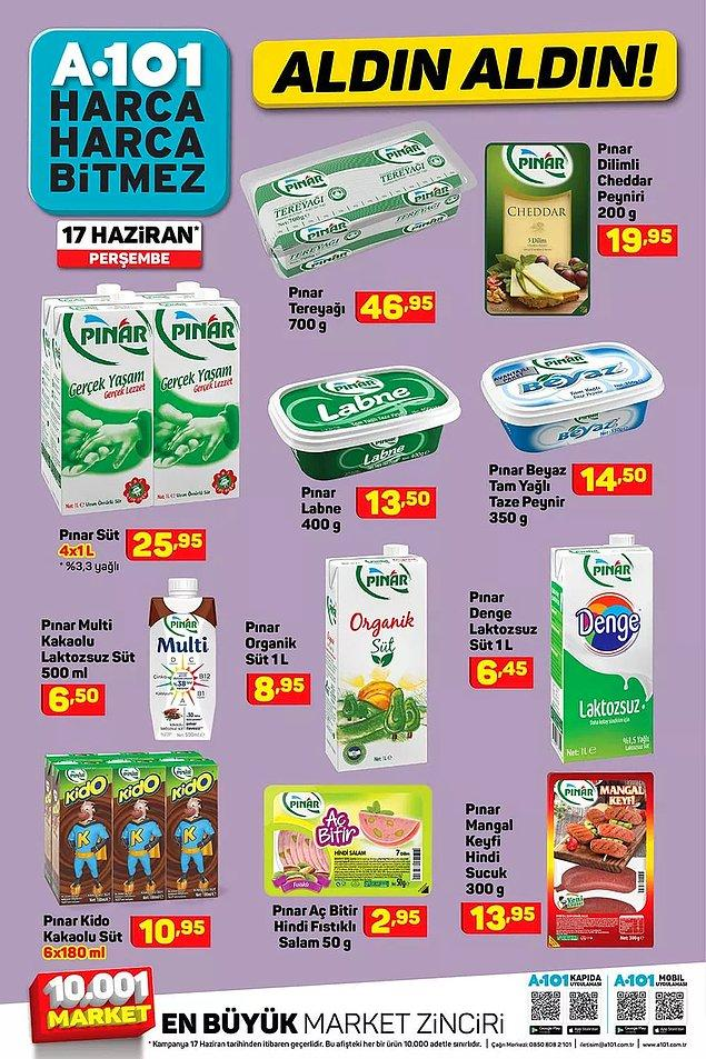 Pınar ürünleri de satışta olacak.