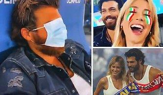 Sevgilisi Diletta Leotta ile Türkiye-İtalya Maçını İzleyen Can Yaman Maç Sonu Yüzünü Maskeyle Gizledi