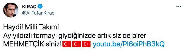 Geçtiğimiz günlerde şarkıcı Kıraç, Milli Takım için hazırladığı şarkıyı  Twitter hesabından 'Siz de birer mehmetçiksiniz' ifadeleriyle paylaşmıştı.