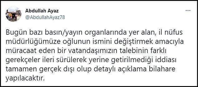 Çankırı Valisi Abdullah Ayaz, bir tweet atarak haberi yalanladı 👇