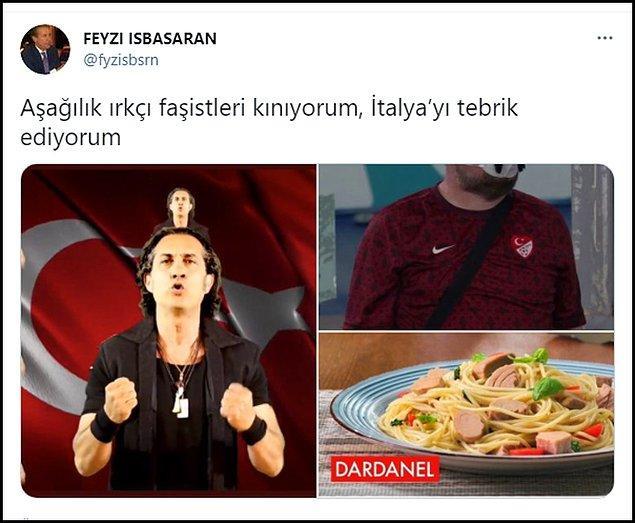 """Eski vekil Feyzi İşbaşaran, Türkiye-İtalya karşılaşmasının ardından Kıraç'ın yer aldığı üç fotoğraf paylaşıp """"Aşağılık ırkçı faşistleri kınıyorum, İtalya'yı tebrik ediyorum"""" diye yazdı. 👇"""