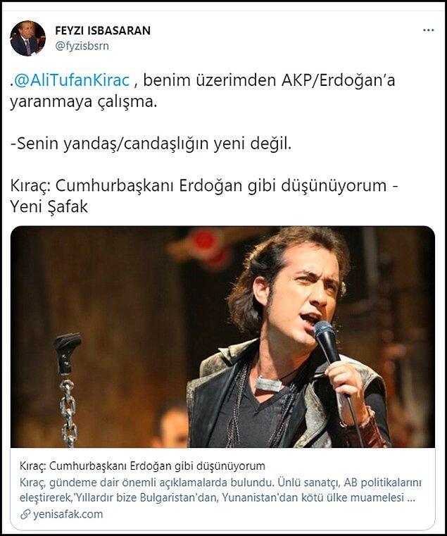 """İşbaşaran son paylaşımında """"Benim üzerimden Erdoğan'a yaranmaya çalışma"""" diyerek Kıraç'ın eski bir röportajını paylaştı ve Kıraç'a """"yandaş"""" dedi. 👇"""