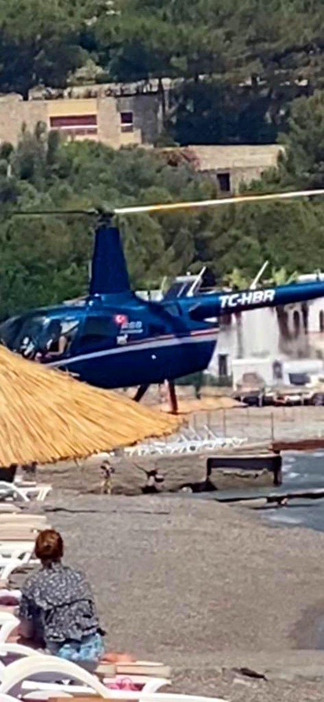 Halkın riske atılarak bir plaja helikopter indirilmesi sosyal medyada tepki çekti.
