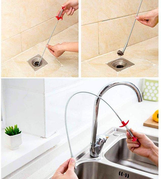 4. Bu fırça ile lavabo ve küveti tıkayan saçları kolayca temizleyin...