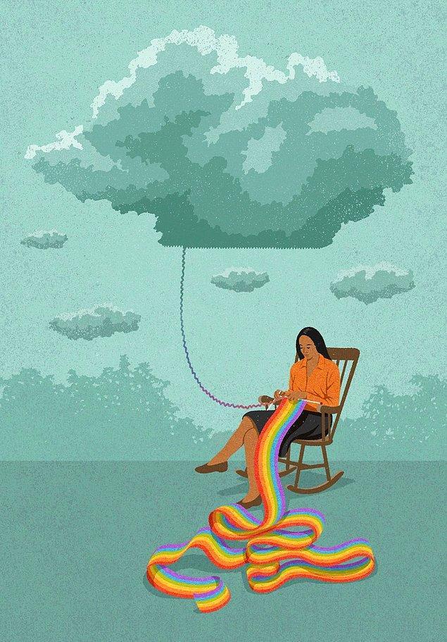 3. İngiliz sanatçı John Holcroft'tan iyimserlik üzerine, hayatın kaçınılmaz şerlerine hayırlar arayarak yaklaşmak üzerine hoş bir çizim 👇