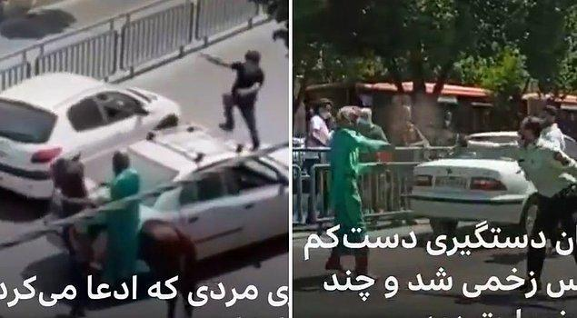 Polis tarafından etkisiz hale getirilen kılıçlı kişinin o görüntüleri İran'da gündem oldu.