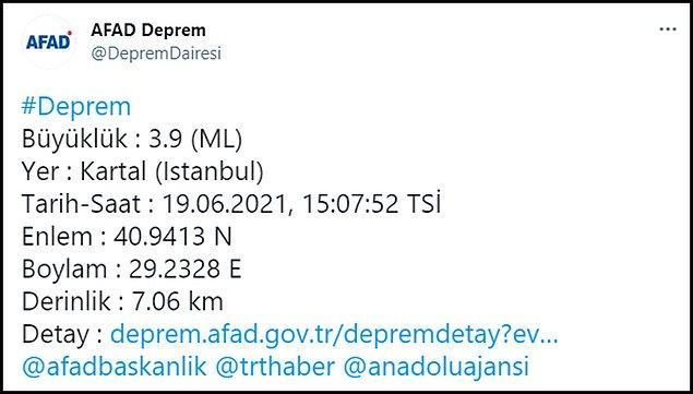 AFAD depremin büyüklüğünün 3.9 olduğunu duyurdu 👇