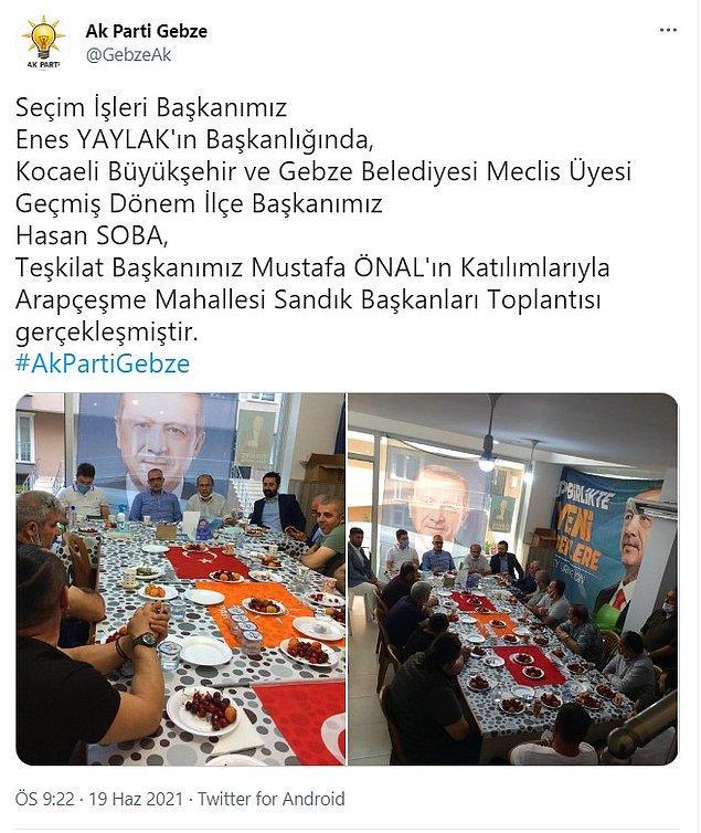 AKP Gebze İlçe Başkanlığı, fotoğrafları sosyal medya hesabından paylaştı