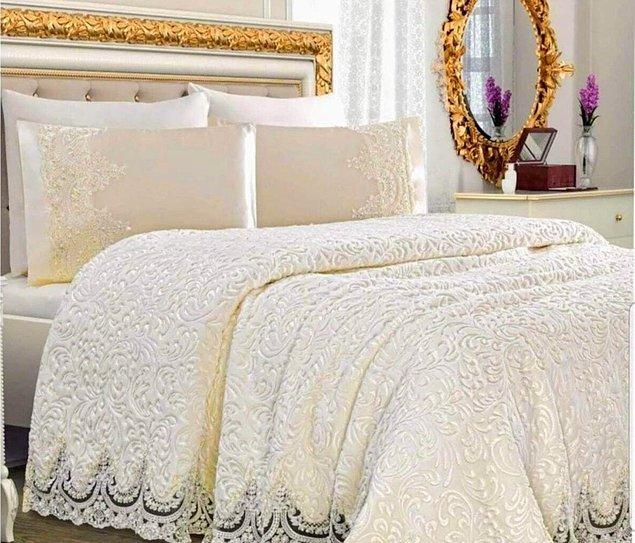 7. Fransız güpürlü yatak örtüsü seti