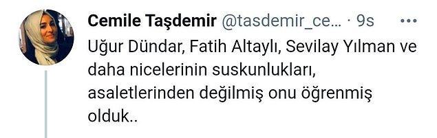 Gazeteci Cemile Taşdemir'in Twitter'dan yaptığı paylaşım şöyle 👇