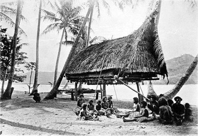 Kıyıya çıkar çıkmaz ada yerlilerinin meraklı bakışlarına maruz kalan Pettersson, yamyamlığın hala devam ettiği bir dönemde olduğundan bu insanlar için potansiyel yemekti.